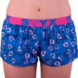Dámské trenky Styx art sportovní guma tmavě modrá srdíčka (T757)