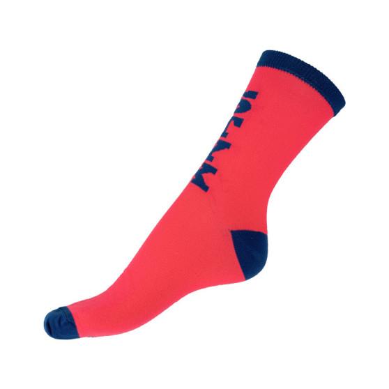 Ponožky Styx crazy růžové s modrým nápisem (H300)