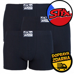 3PACK pánské boxerky Styx long klasická guma černé (F9606060)