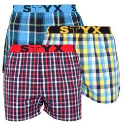 3PACK pánské trenky Styx sportovní guma vícebarevné (B7313337)