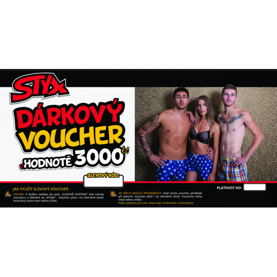 Elektronický voucher Styx 3000,- (zaslání pouze e-mailem)