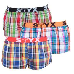 3PACK dámské trenky Styx sportovní guma vícebarevné (T6142226)