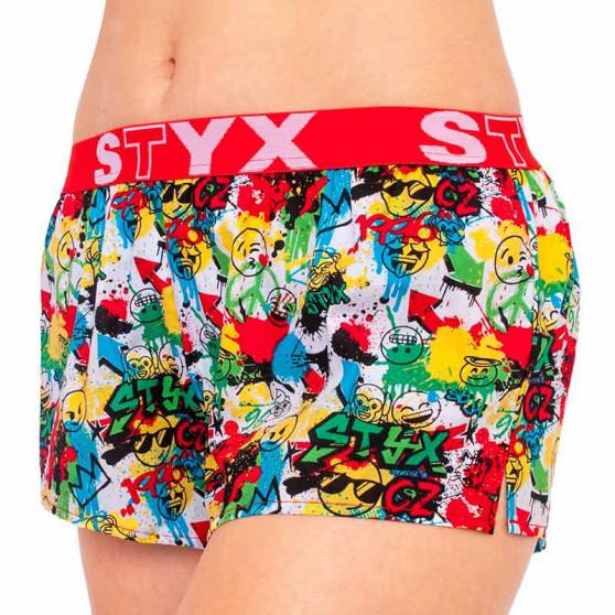 Dámské trenky Styx art sportovní guma emoji (T954)