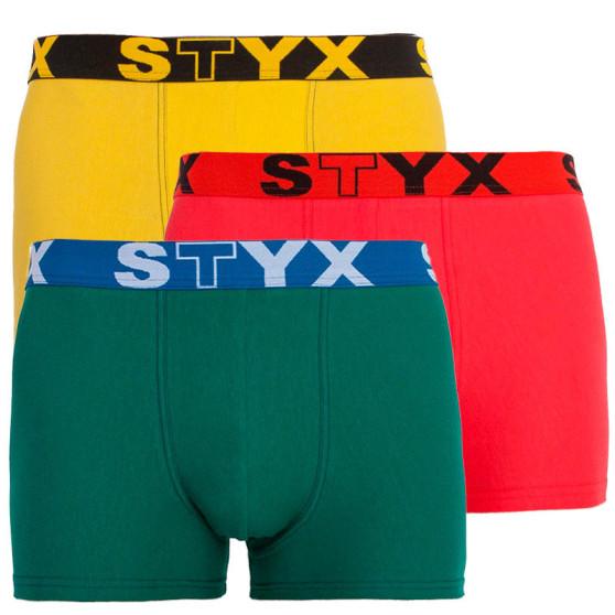 3PACK pánské boxerky Styx sportovní guma vícebarevné (G10646566)