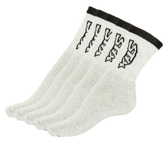 5PACK ponožky Styx vysoké šedé s černým nápisem (H26363636363)