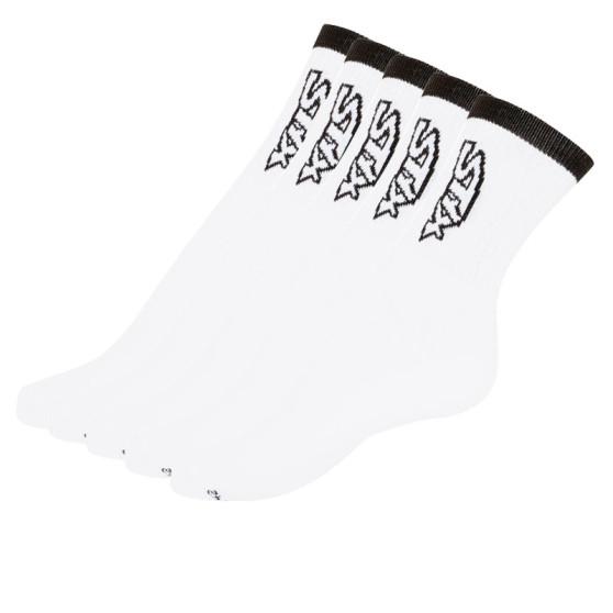 5PACK ponožky Styx vysoké bílé s černým nápisem (H26161616161)