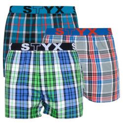 3PACK pánské trenky Styx sportovní guma vícebarevné (B7390714)