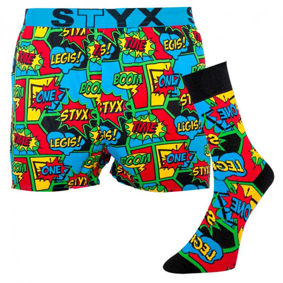Pánské trenky art sportovní guma a ponožky Styx boom (BH955)