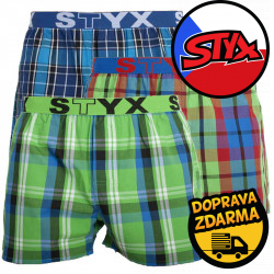 3PACK pánské trenky Styx sportovní guma vícebarevné (B8242730)