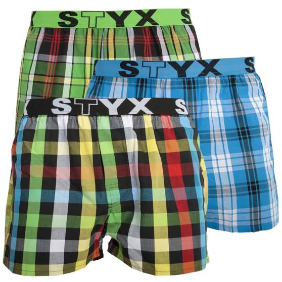 3PACK pánské trenky Styx sportovní guma vícebarevné (B8212228)