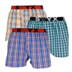 3PACK pánské trenky Styx sportovní guma vícebarevné (B1051013)